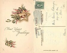 Happy New Year EMBOSSED SENT FROM FREEPORT 1914 _ Buon Anno IN RILIEVO (A-L 463)