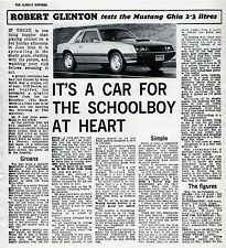Ford Mustang 2.3 Turbo Ghia Coupe 1979 UK Market Road Test Leaflet Brochure