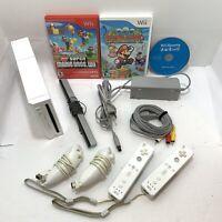 Wii Bundle w/ Mario Bros, Paper Mario, Sports, 2 Controllers, Nunchucks - Tested