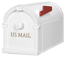 White Post Mount Mailbox Gold Letters Durable Decorative Rust Proof Plastic New
