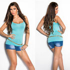 New Sexy Ladies Singlet Tank Top Size S/M Size 6 8 10 - Turquoise Baby Blue