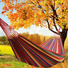 Portable 2 Person Cotton Rope Hanging Hammock Swing Fabric Canvas Camping Bed