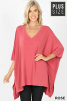 2XL PLUS OVERSIZED SHORT SLEEVE STRETCHY TUNIC TOP BLOUSE PINK