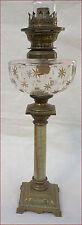 French Baccarat Gilt Cut Crystal Glass Kerosene Oil Lamp Onyx Brass 1880