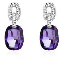 Luxury Vintage Style Jewellery Silver & Purple Stone Drop Stud Earrings E761