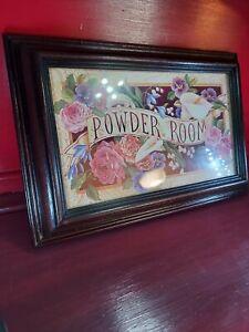 "Vintage Bathroom Victorian Wood Glass Floral Powder Room Sign 12""x8"""