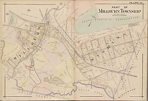1904 MILLBURN NEW JERSEY SOUTH MOUNTAIN RESERVATION ESSEX COUNTY COPY ATLAS MAP
