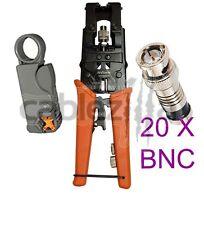 Kit Universal Coax Connector Compression Crimp tool BNC RCA F RG59 RG6 Stri
