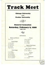 1929 Track Meet Program Purdue University vs Chicago