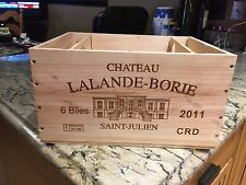 CHATEAU LALANDE-BORIE 2011 ST. JULIEN WINE BOX CRATE EMBOSSED PANELS IN WOOD