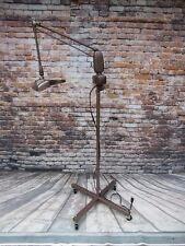 Vintage Industrial Dazor Magnifying Floor Lamp Floating Articulating Arm Rolls