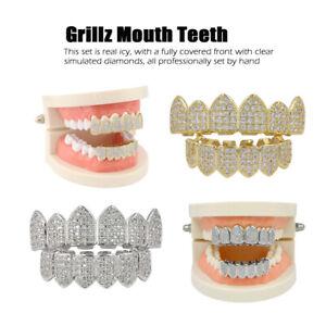 18K Plated Bling Bling Cubic Zirconia Top & Bottom Custom Grillz Mouth Teeth Cap