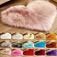 Heart Shaped Fluffy Rug Shaggy Floor Mat Fur Anti-Skid Room Bedroom Hairy Carpet