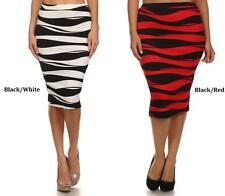 Women's Regular Striped Knee-Length Straight, Pencil Skirts