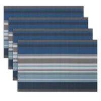 Set of 4 PVC Placemats Dinning Table Mats Heat Resistant Durable Washable Blue