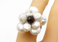 925 Sterling Silver - Pearls & Black Sapphire Flower Cocktail Ring Sz 6 - RG4737