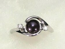 Maui Divers 14K White Gold Ring Purple Pearl Diamond Band Size 8