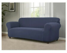 Madison Stretch Checkerboard Sofa Slipcover Blue Furniture Protective Cover