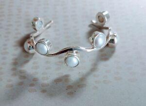 Vintage Signed Charles Albert  Sterling Silver Pearl Wave Cuff  Bracelet