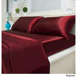 Queen Size Satin Silk US 3 PC or 5 PC Duvet Set 1000 Thread Count Solid Colors