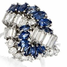 Vintage Diamond Tanzanite Cluster Cocktail Ring 925 Sterling Silver Gold Finish