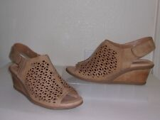Earthies Tan Light Brown Perforated Leather Slingback Wedge Size 11 D WIDE Shoes