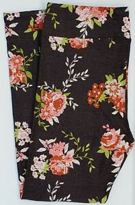 TC LuLaRoe Tall & Curvy Leggings Beautiful Roses Flowers on Gray Black NWT G22