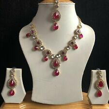 PINK GOLD KUNDAN INDIAN COSTUME JEWELLERY NECKLACE EARRINGS CRYSTAL SET NEW 063