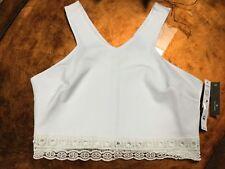 AQUA Bloomingdale's Womens Juniors Size L White Knit Crop Top Blouse Stretch $58