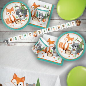 Wild Woodland Animals Party Tableware, Decorations & Balloons, Owl, Fox