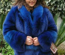 SALE! Blaufuchs Fuchs Pelzjacke mit leder Blue Horizontal Fox fur coat M L 38 40