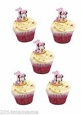 24 PRECUT MINNIE MOUSE 1ST BIRTHDAY STAND UP CUPCAKE CAKE WAFER CARD TOPPERS