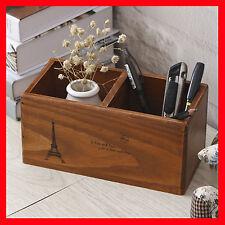 Timber Wooden Pencil Vase Pot Crate Retro Storage Spice Rack Mini Display A54-4