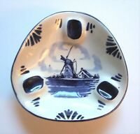 Vintage Hand Painted Delft Blue & White Triangle Ashtray Windmill Scene Holland