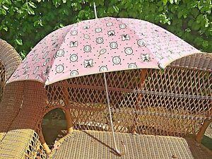 Vintage Lulu Guiness Umbrella, Cameo Print on Pink Background w Polka Dot