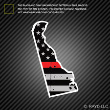 Distressed Thin Red Line Delaware State Shaped Subdued US Flag Sticker fire DE