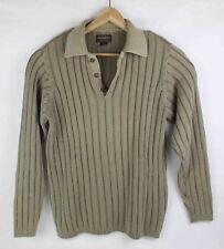 Woolrich M Medium Sweater Tan 1/4 Zip Up Zipper Front Cotton Mens Long Sleeve