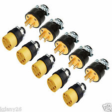 5pc Male & 5pc Female Extension Cord Replacement Electrical End Plugs 15AMP 125V