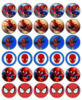 30 SPIDERMAN Edible Cupcake Toppers Wafer Paper Birthday Party Cake Decoration