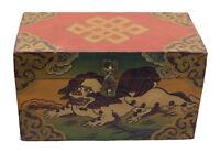 Cofanetto Scatola Tibetano Leone Dei Frozen Fiocco Infinito Nepal 30x17cm 8641