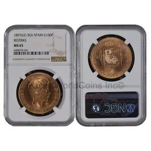 Spain 1897(62) SGV 100 Pesetas Gold NGC MS65 Restrike  SKU#6230
