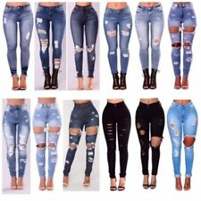 WOMENS LADIES GIRLS HIGH WAISTED EXTREME RIPPED SLIM SKINNY JEANS SIZE 6-24
