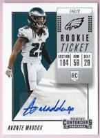 AVONTE MADDOX RC 2018 CONTENDERS ROOKIE TICKET AUTO #142 EAGLES AUTOGRAPH