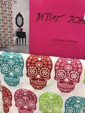 """Betsy Johnson Sugar Skull Shower Curtain Day of the Dead (72""""x72"""")"""