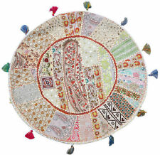 """17"""" round embroidered Bohemian Patchwork floor cushion pouf Indian Foot Stool"""