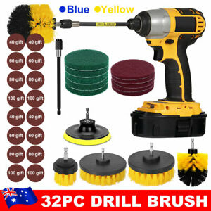 32PC Drill Brush Power  Scrubber Set Tub Cleaning Grout Carpet soft Cleaner