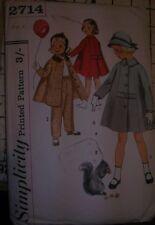"Vintage girl boy sewing pattern Unused 1950's stylish swing coat trousers 24"""