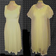 vintage 1950s, 2-PC: Robe & Night Gown, Shadowline, Sheer Lace Embroidery, 34