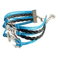 Zodaca® Punk Leather Wrap Cuff Bangle Bracelet Men's Women's Wristband Jewelry
