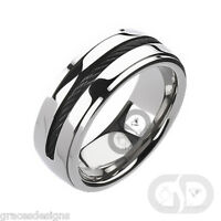 Men's Solid Titanium Wedding Engagement Bridal Band Black IP Chain Inlay Ring